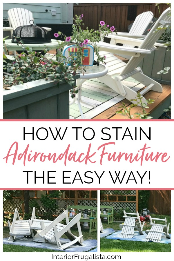 How to stain Adirondack outdoor furniture the easy way! Save your knees and valuable time by tossing the paintbrush to get it done in an afternoon. #adirondackfurnituremakeover #outdoorfurnituremakeover #stainingoutdoorfurniture