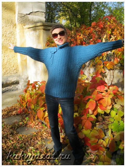 Авторская модель свитера из толстой пряжи: готовое изделие.