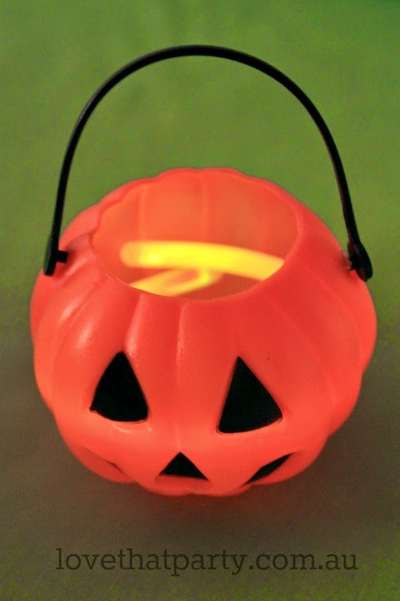 pumpkin with glow sticks DIY party decoration