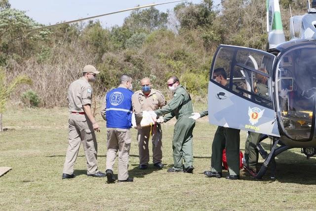 Bebê é socorrido de helicóptero após grave acidente em Colombo; Bebê de apenas dez meses quebrou o fêmur