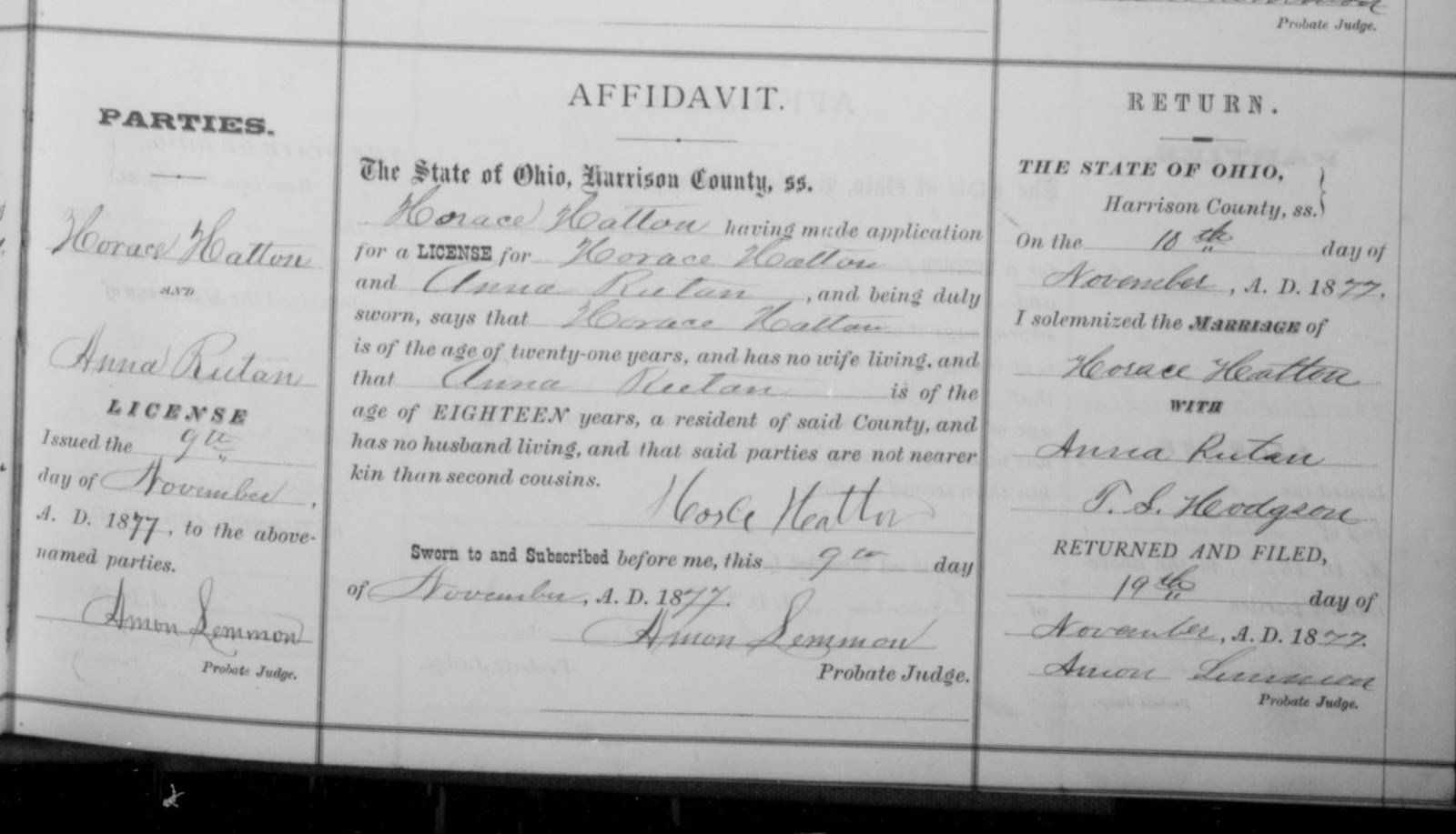 Family history how dna helped find the parents of william houston horace hatton and anna rutan received their marriage license on 7 november 1877 and were married on 10 november 1877 as recorded in ohio county marriages aiddatafo Choice Image
