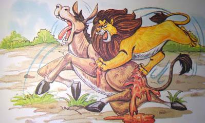 शेर का पीछा करता गधा Amazing Hindi Moral Stories For Class 8