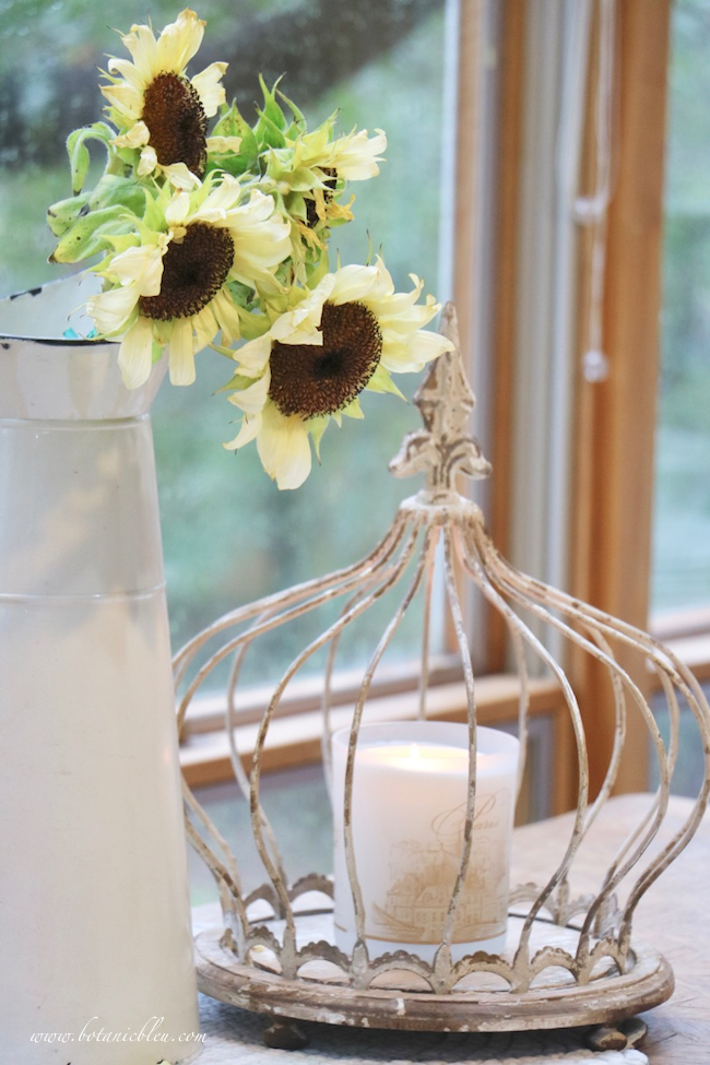 white sunflowers add french country fall to a breakfast sunspace