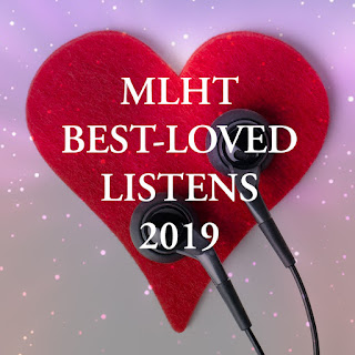 A red felt heart and black earbuds on a cosmic purple backdrop, with text reading MLHT BEST-LOVED LISTENS 2019