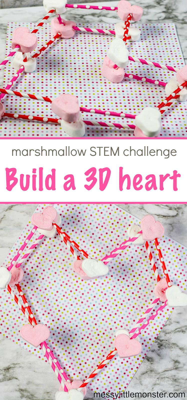 Valentine marshmallow STEM challenge - Make 3D heart marshmallow structures.