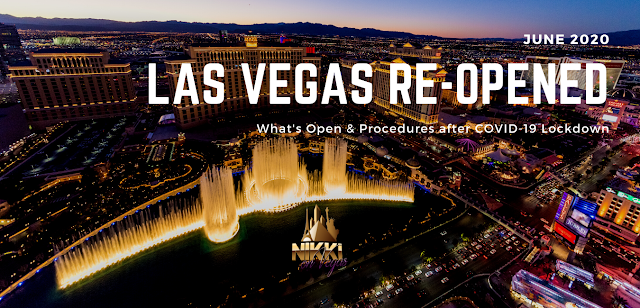 The Las Vegas Strip from above with text June 2020 Las Vegas Re-Opened