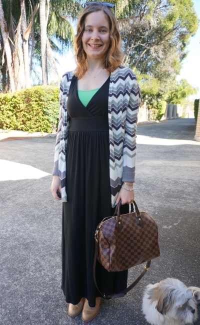 winter black maxi dress acne pistol boots chevron cardi LV speedy Bandouliere