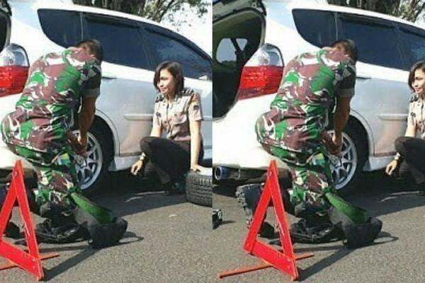 TNI Bantu Polwan Ganti Ban Mobilnya, Netizen Malah Salfok