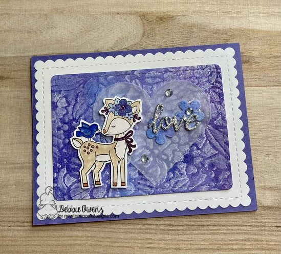 Love by Debbie features Woodland Spring, Floral Lace, Frames & Flags, Darling Hearts, and Flower Trio by Newton's Nook Designs; #newtonsnook, #cardmaking, #watercoloring, #inkypaws