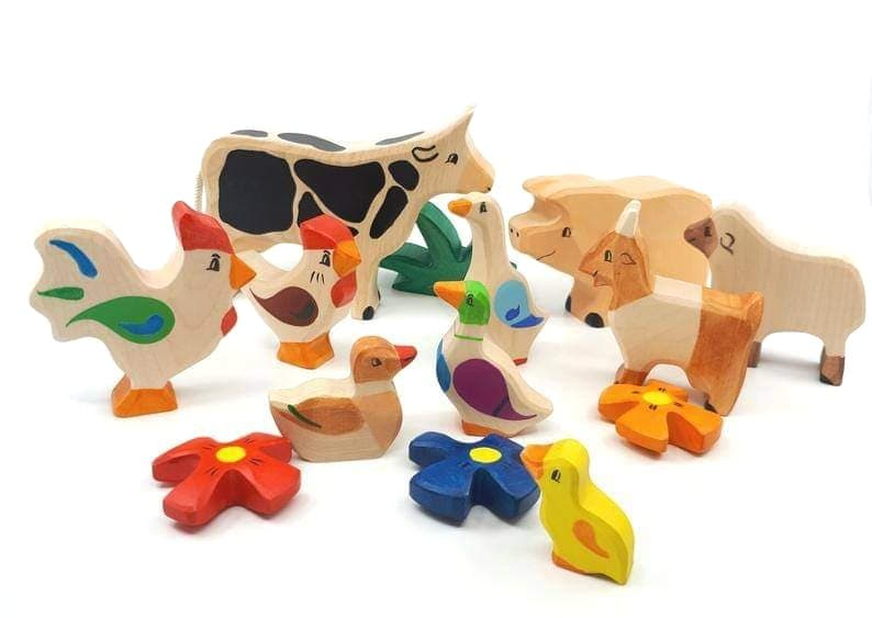 the wood pecker factory wooden farm animals