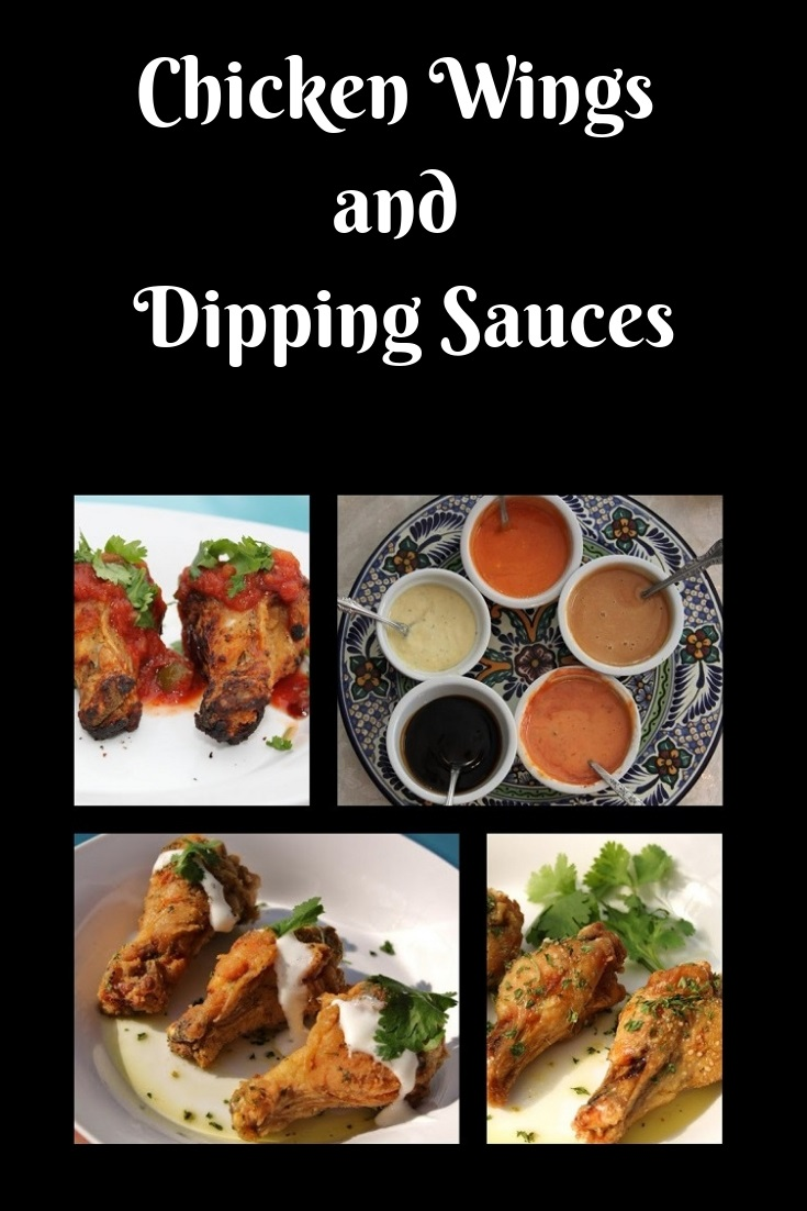 there are 5 sauces in the photo on a plate  These are chicken wings dipping sauces for fried wings, grilled wings, baked wings. The sauces are Asian, American, Italian, French anything from sweet to savory. There are over 18 wings made baked fried grilled with all different sauces to dip them in recipes