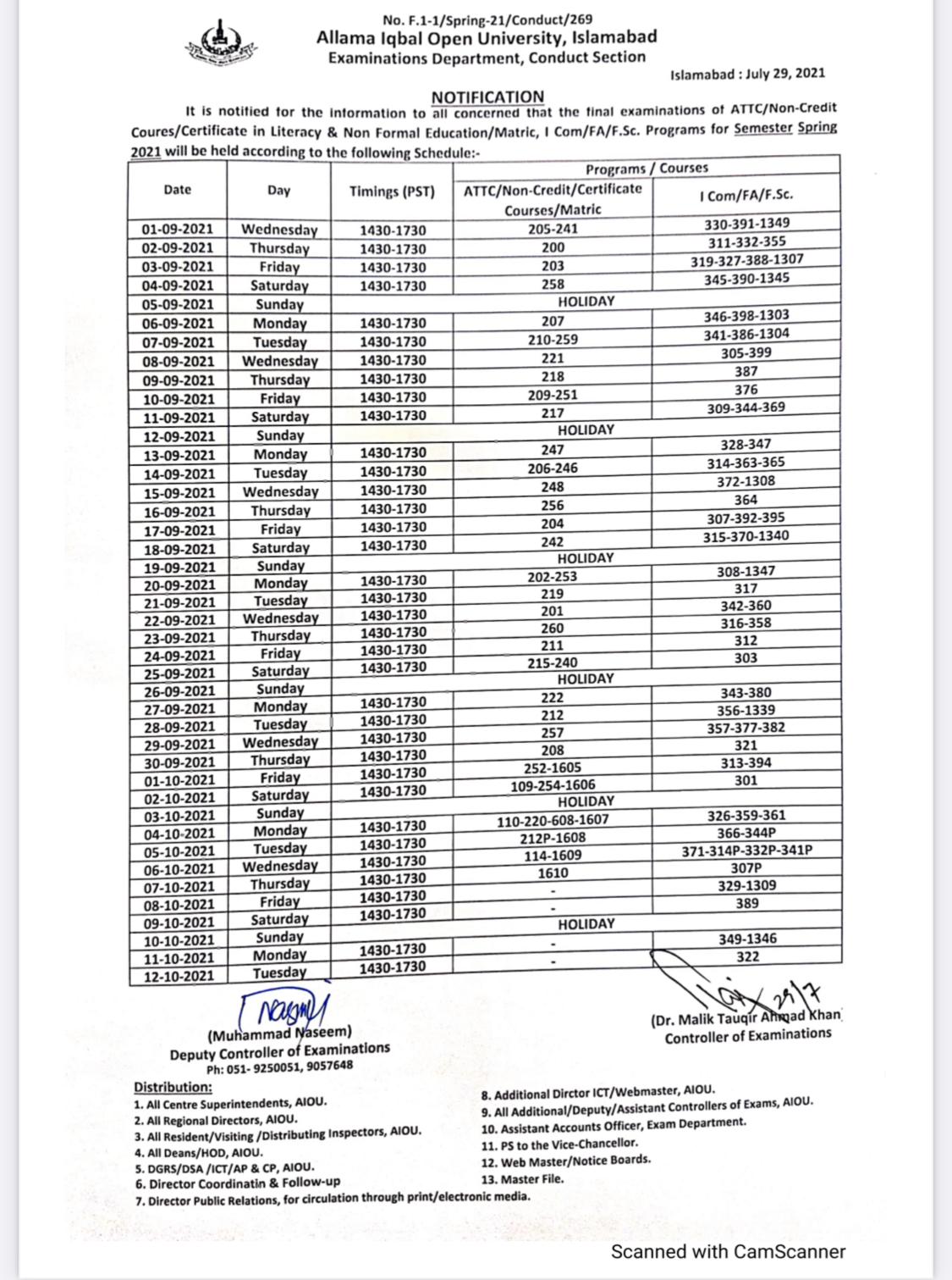 AIOU Date Sheet 2021 Matic Inter Exam