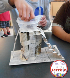 STEM- easy materials- just newspaper and tape! Students must build a platform that has several rules to follow! Super fun!