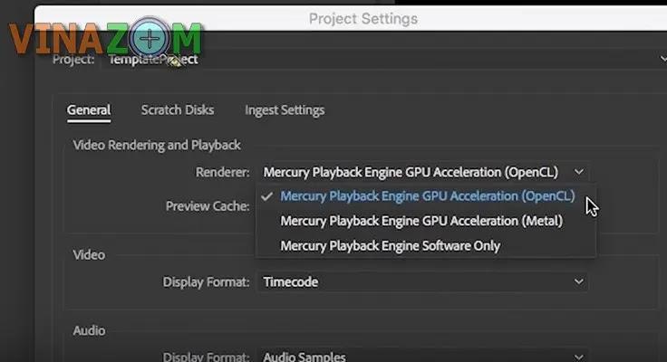 Tắt GPU Acceleration Premiere Pro