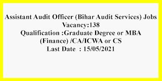 Assistant Audit Officer (Bihar Audit Services) Jobs in Bihar Public Service Commission