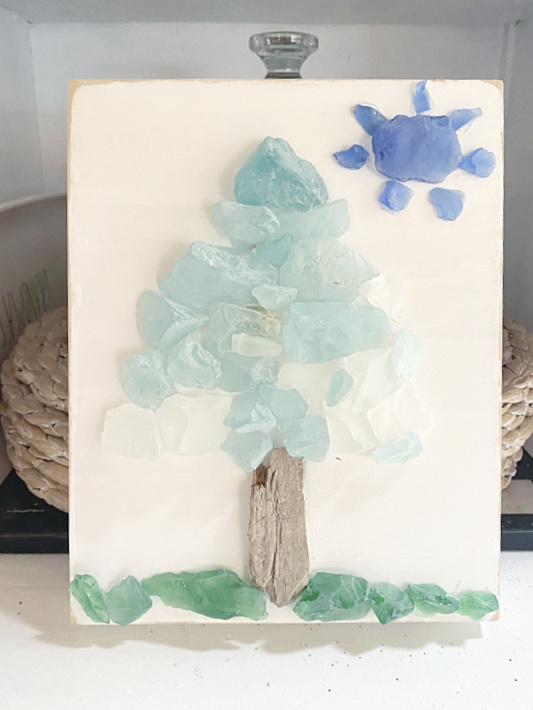 driftwood and sea glass tree with sun