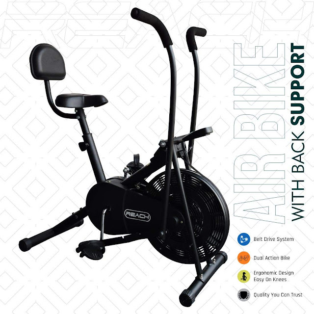 Reach AB-110 Air Bike Exercise Fitness Cycle with Moving or Stationary Handle
