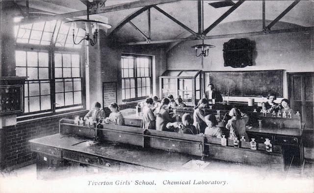 Postcard of Tiverton Girls' School Chemical Lab c.1912