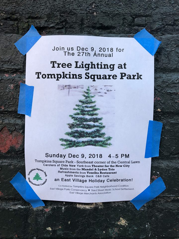 Ev Grieve Reminders Tree Lighting In Tompkins Square Park This