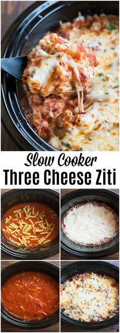 Slow Cooker Three Cheese Zìtì