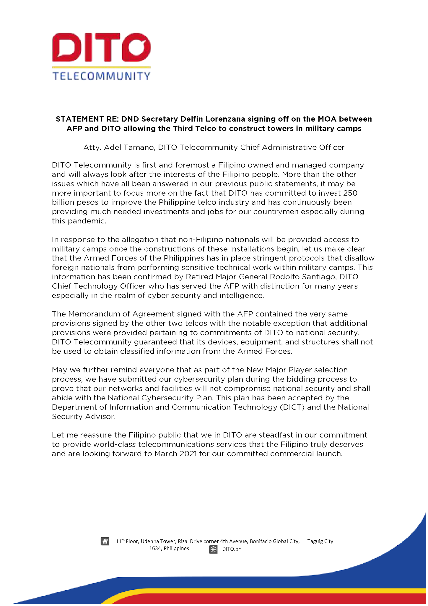 Official Statement on the MOA between AFP and DITO allowing the Third Telco to construct towers in military camps
