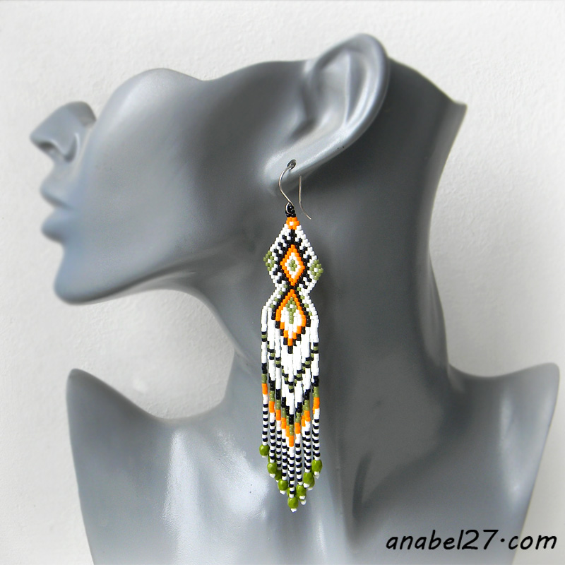 Серьги из бисера - seed bead earrings - beadwork jewelry