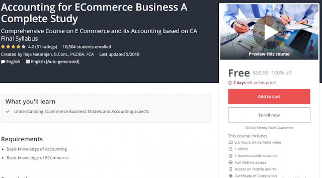 [100% Off] Accounting for ECommerce Business A Complete Study  Worth 39,99$