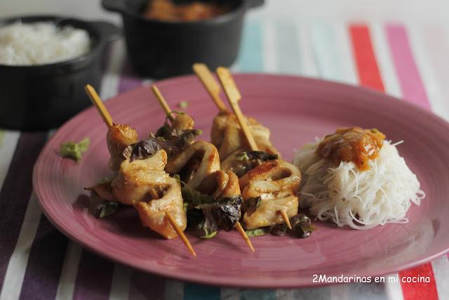 Brochetas de pollo Gourmet Garden con fideos de arroz