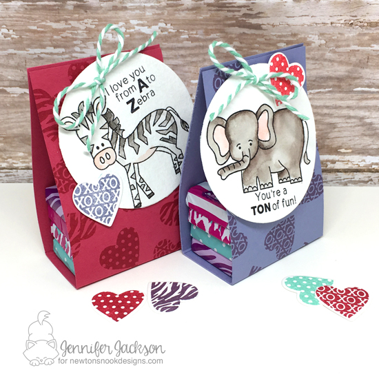 Sweet Treats Blog Hop | Zoo Chocolate Holders by Jennifer Jackson | Wild about Zoo stamp set by Newton's Nook Designs #newtonsnook