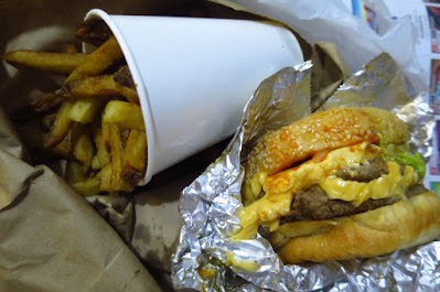 Five Guys - lettuce, pickles, mushroom, mustard, hot sauce and extra cheese