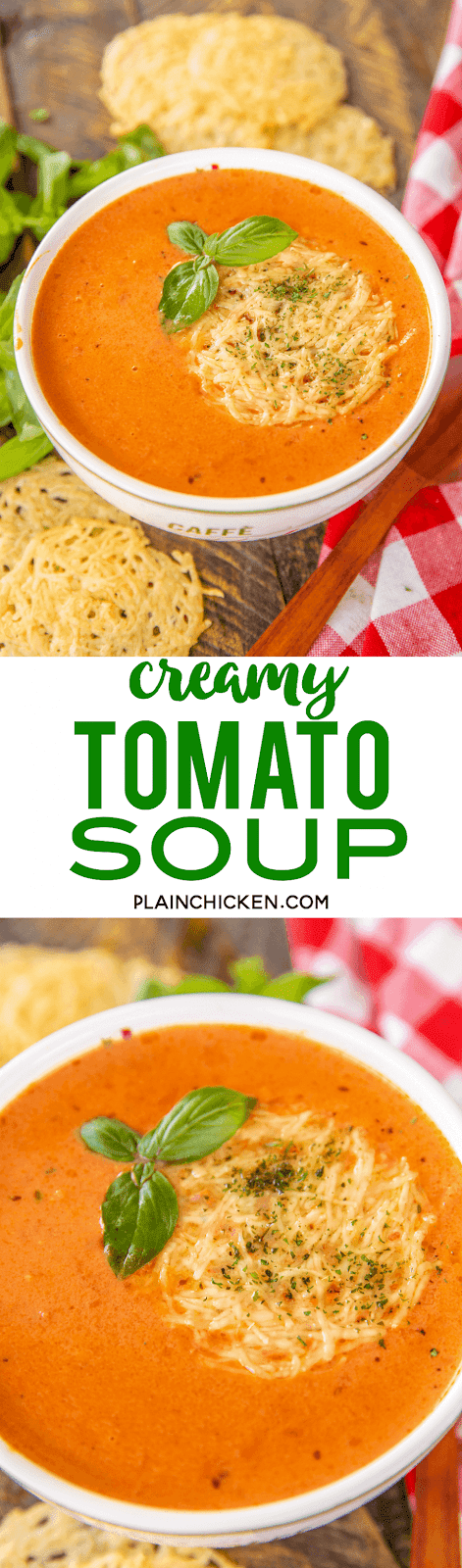 Creamy Tomato Soup - grown up version of my favorite soup as a kid. Shallot, butter, garlic, oregano, red pepper flakes, tomato juice, crushed tomatoes, chicken base, sugar, heavy cream, salt and pepper. We served the soup with some yummy parmesan crisps. Also delicious leftover! #soup #tomatosoup #quick