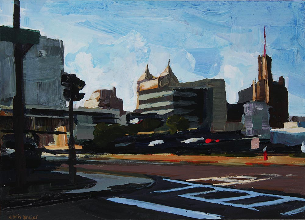 Acrylic painting of downtown Buffalo NY