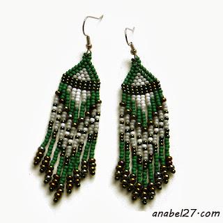 Зеленые серьги из бисера - 169 / 365 - украшения ручной работы
