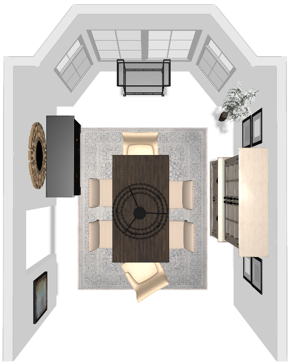 CAD Interiors Transitional Dining Room Design Project online virtual remote interior e-design furniture layout