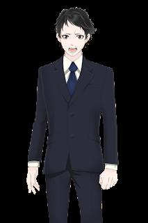 怒っているスーツを着た人物のフリー立ち絵素材