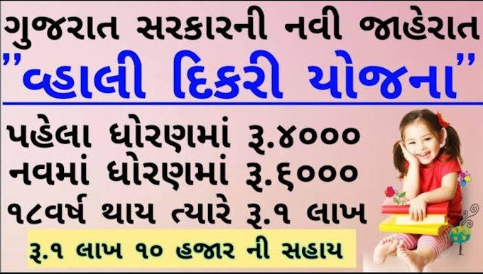 Gujarat  Vahali Dikri Yojna Registration Form / Application Form Announced By Gujarat Government.