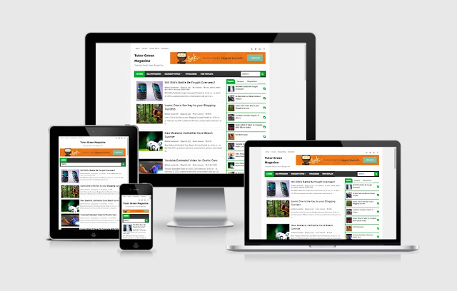 Download Tutor Green Magazine Blogger Template Premium Responsive Fast Loading
