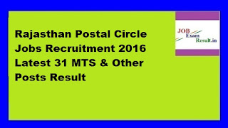 Rajasthan Postal Circle Jobs Recruitment 2016 Latest 31 MTS & Other Posts Result