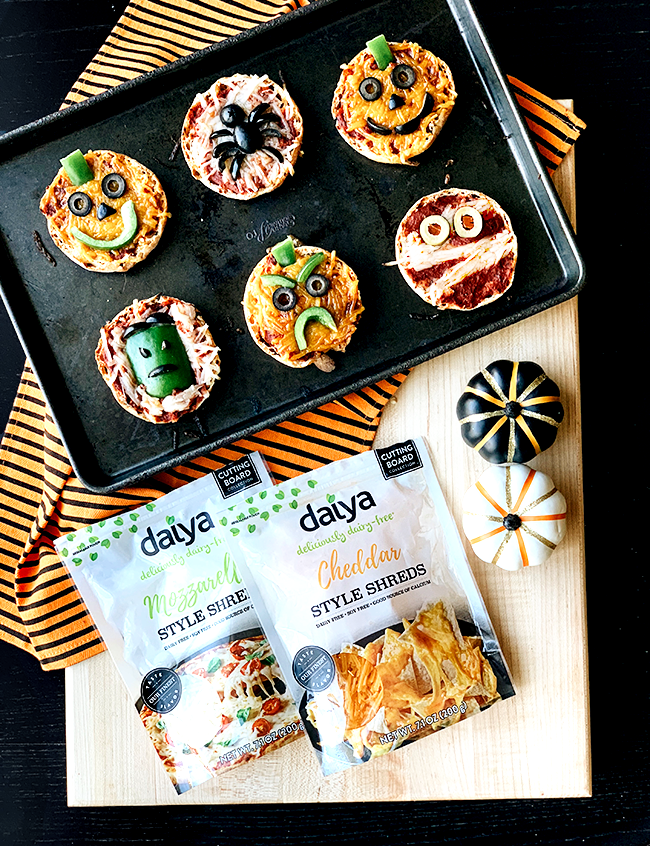 Vegan Halloween Mini Pizzas