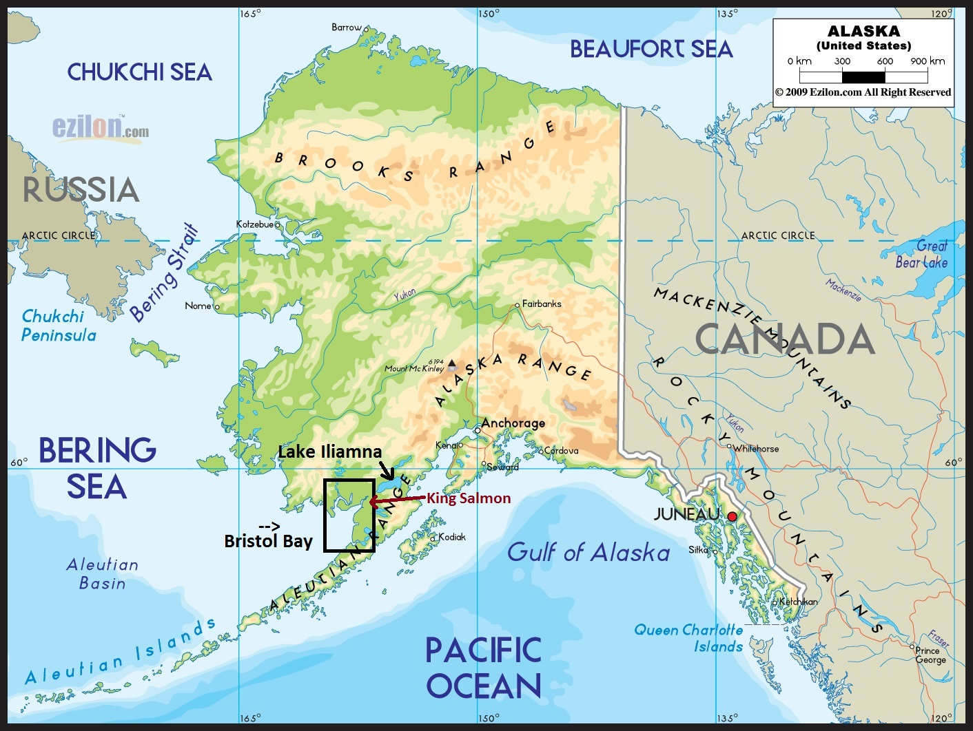 this map shows where in alaska bristol bay is located i also pointed out lake iliamna on this map this is where half of the world s red salmon comes