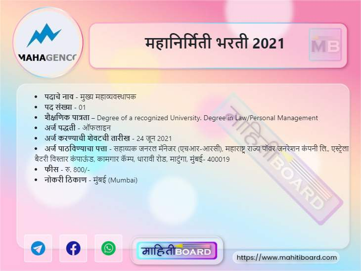 MahaGenco Mumbai Bharti 2021
