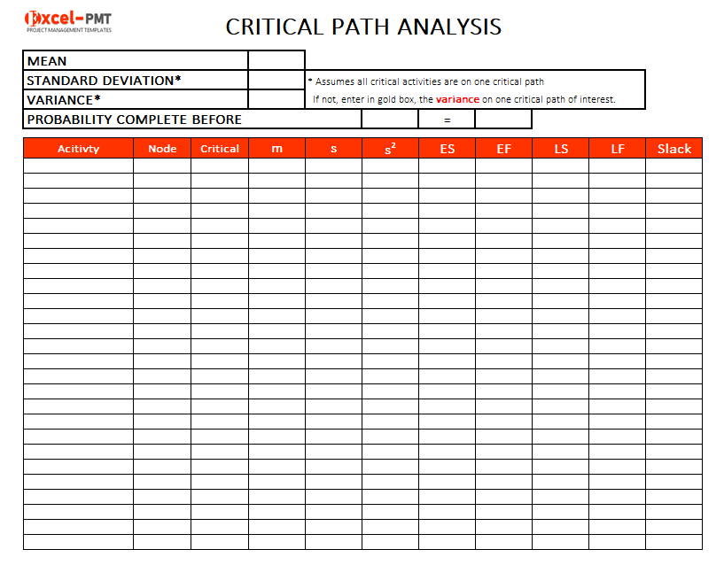 excel critical path method template project management. Black Bedroom Furniture Sets. Home Design Ideas