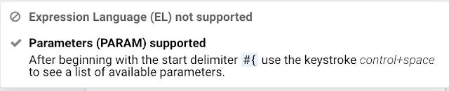 Pop-up parameter hint