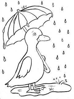 Duck on Rainy Days Coloring Sheet