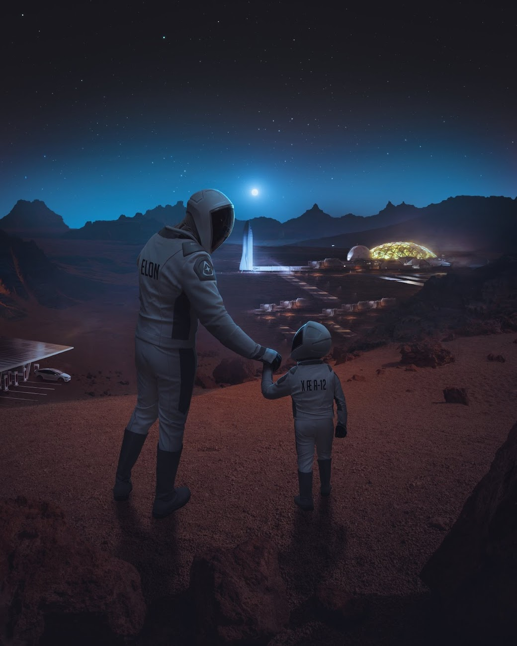 Elon Musk with his youngest son X Æ A-12 at Mars Base Alpha by Eashan Misra