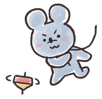 コマ回しをするネズミのイラスト(子年)