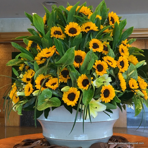 sunflowers in lobby of Parkview Hotel in Hualien, Taiwan