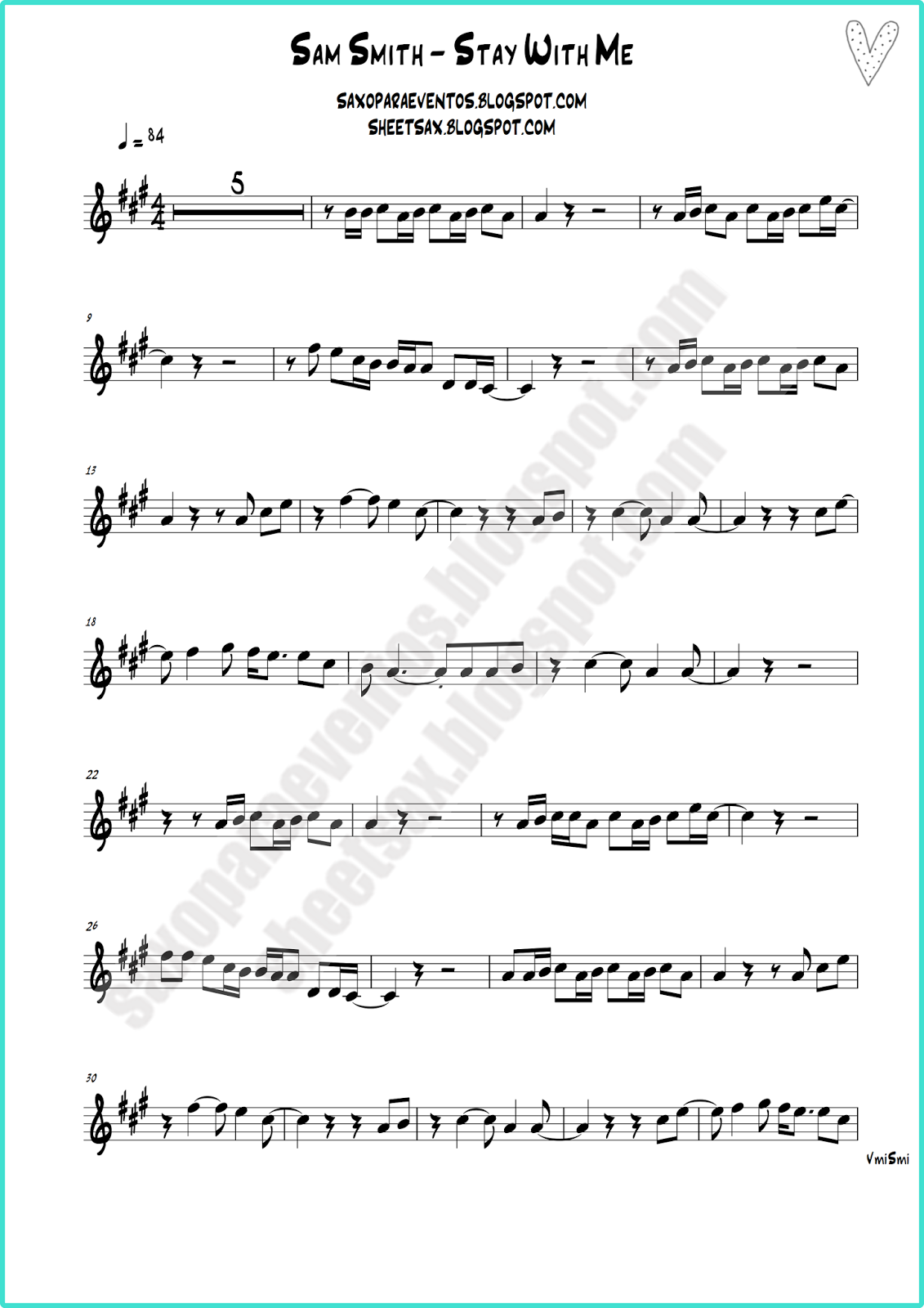 Stay With Me By Sam Smith Free Sheet Music And Playalong Free