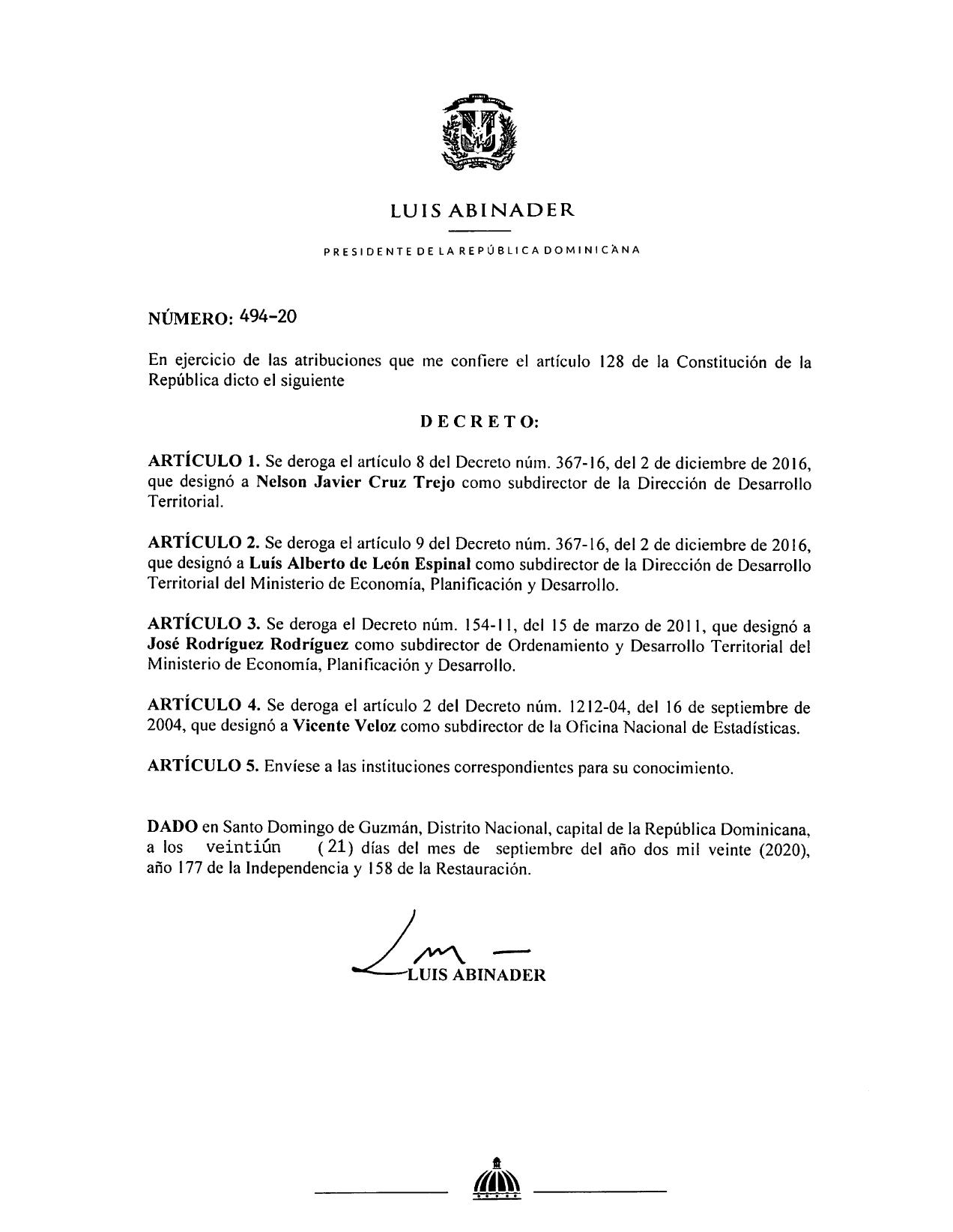 decreto 494-20