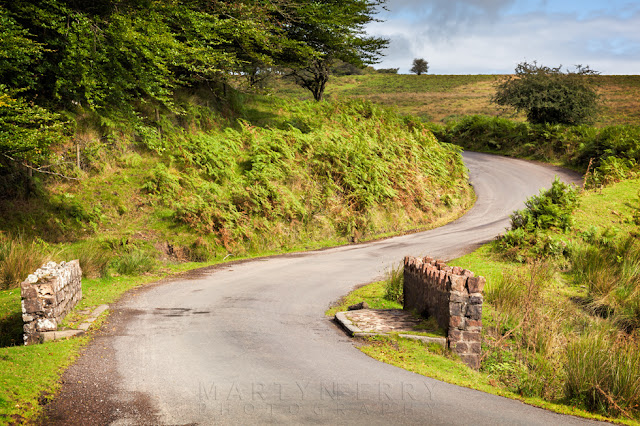 Idyllic country lane as it winds through the Exmoor landscape